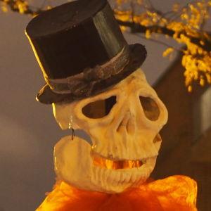 kaksi Halloween-luurankonukkea New Yorkissa puistomaisella kadulla.