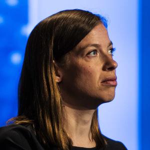 Kuvassa Ylen tiloissa on Li Andersson, joka osallistui Ylen A-studioon 8. kesäkuuta 2020.