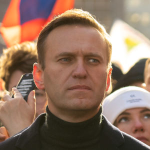 Aleksei Navalnyi and his wife Julia Navalnaja on the Nemtsov memory march
