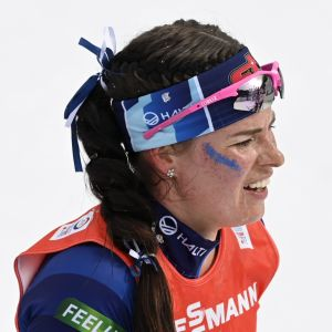 Krista Pärmäkoski efter VM-stafetten.