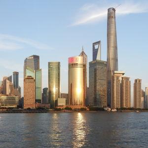 Stadsdelen Pudong i Shanghai.