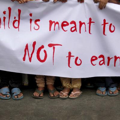Demonstration mot barnarbetskraft