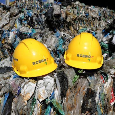 Avfall vid RCERO-avfallsanläggning i utkanterna av Ljubljana, Slovenien 27.2.2019. Den modernaste och största anläggningen i sitt slag i Europa. Upp till 98 procent av avfallet återvinns till produkter, kompost eller bränsle.
