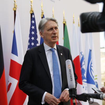 Storbritanniens finansminister Philip Hammond intervjuas under G7 mötet i Chantilly i juli 2019.