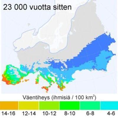 Kartta Euroopan väentiheydestä ja mannerjäätikön muutoksista.