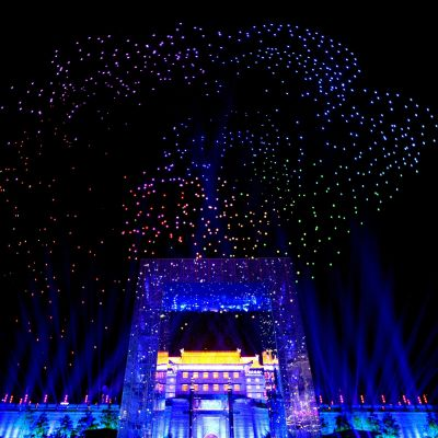 Över 1 300 drönare används i en ljusshow i Xi'an i den kinesiska provinsen Shaanxi.
