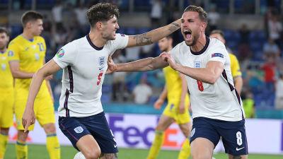 England firar mål i EM.