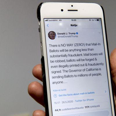 Donald Trump twittrar om misstankar om valfusk