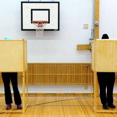 Två personer står i varsitt väljarbås och röstar.