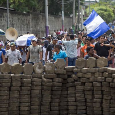 Barrikader i Masaya söder om den nicaraguanska huvudstaden Managua.