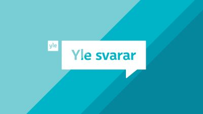 På blå bakgrund en vit ruta med texten Yle svarar.