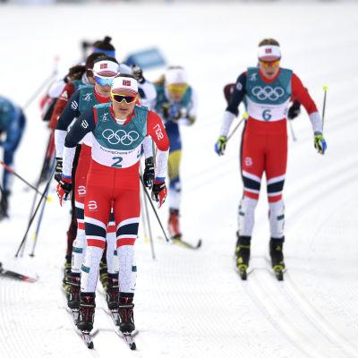 De norska damerna hängde med i täten under början av skitahlontävlingen.