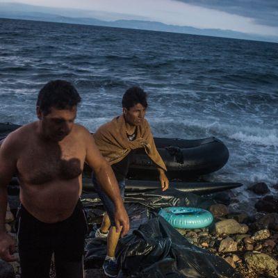 Kreikan saarille on tullut yli 800 000 ihmistä Turkista Välimeren yli tänä vuonna. Kuva on Lesboksen saarelta lokakuulta.
