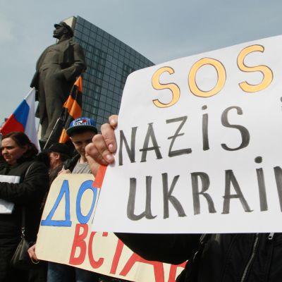 Proryska demonstranter i Donetsk i Ukraina