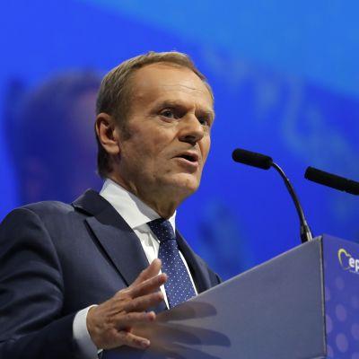 Donald Tusk piti puhetta EPP:n kokouksessa