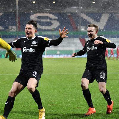 Holstein Kiel yllätti Bayern Münchenin Saksan cupissa tammikuussa 2021.