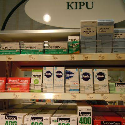 värkmedicin hylla i apotek