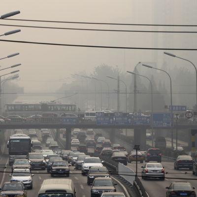 Smog över Peking.