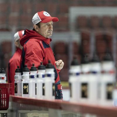 HIFK päävalmentaja Ville Peltonen vetää miesten joukkueen jääharjoituksia.