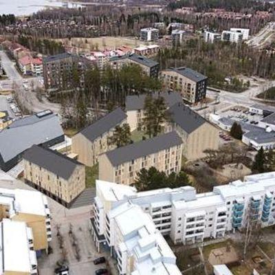 Havainnekuva Kalonin korttelista Kuokkalan kirkon vieressä.