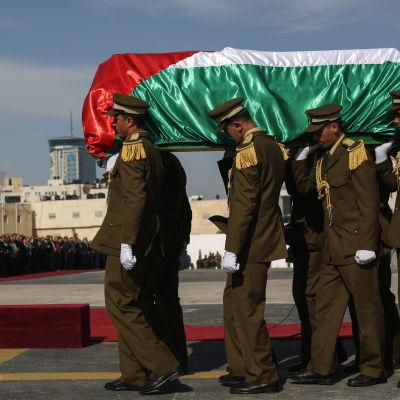 Den palestinska ministern Ziad Abu Ein begravs den 11 december 2014 efter att ha dött i en protestmarsch.