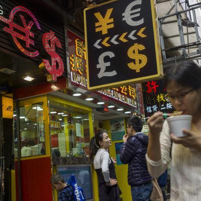 Valutaväxlingskontor i Hong Kong.