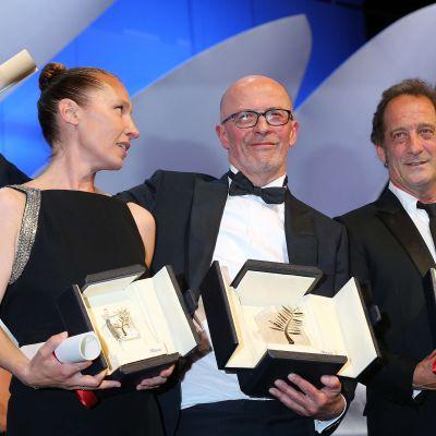 Från vänster Emmanuelle Bercot, Jacques Audiard och Vincent Lindon.