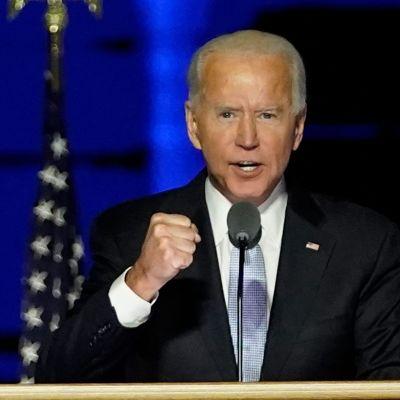 Joe Biden håller segertal i Wilmington, Delawarem den 7 november 2020.