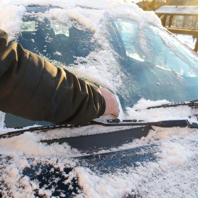 Bilist skrapar rutan på bilen.