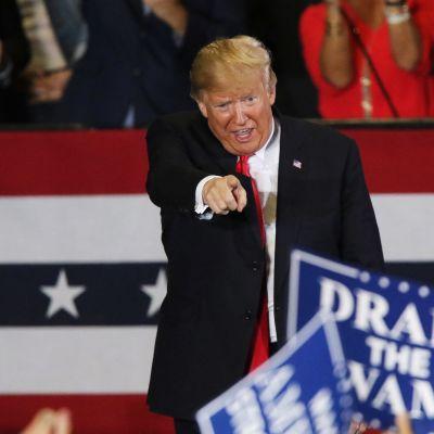 USA:s president Donald Trump på valmöte.