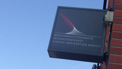 MIgrationsverkets skylt.