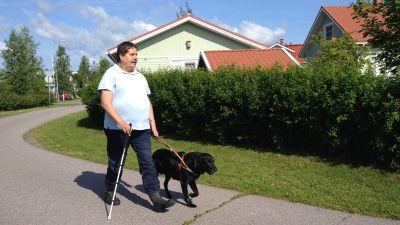 Synskade Kenneth Ekholm på promenad med sin ledarhund Duffe