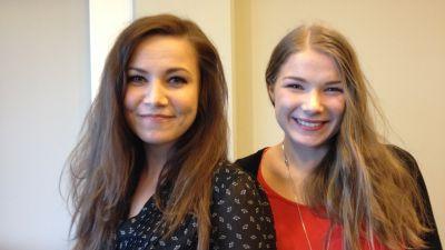 Julia Korander och Julia Hellén, skådespelare i filmen Lola uppochner