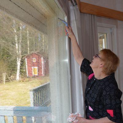 Aino Pajusto neuvoo, että ikkunanpesussa on käytettävä tarpeeksi vettä ja pesu- ja kuivausvälineet on syytä olla kunnollisia.