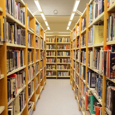 Kirjaston kirjahyllyjä