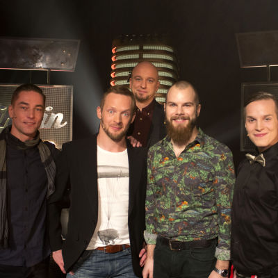Sami Uotila, Jarkko Nyman, Kalle Ruusukallio, Valtteri Lehtinen, ja Sami Hintsanen Tartu Mikkiin -ohjelmassa 12.12.2014