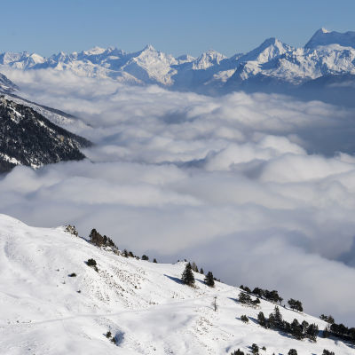 Crans-Montana i Schweiz. Bilden tagen i december 2017.
