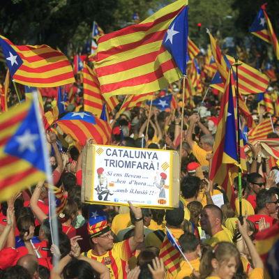 Demonstration för katalansk självständighet i Barcelona.