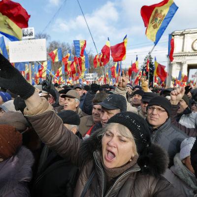Demonstration i Chisinau mot regeringen i Moldavien 24 januari 2016