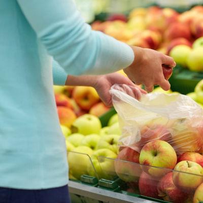 Person plockar frukter i plastpåse. I bakgrunden syns flera lådor av äpplen.