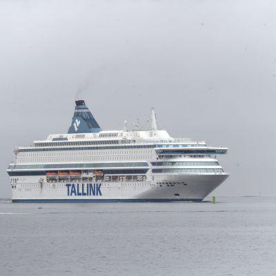Silja Europa anländer till Västra hamnen i Helsingfors den 20 oktober 2019.