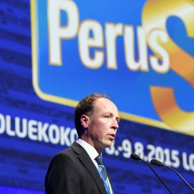 Jussi Halla-aho vid Sannfinländarnas partikongress i Åbo den 8 augusti 2015.