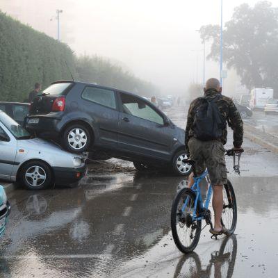 Översvämningar i franska Mandelieu-la-Napoule.