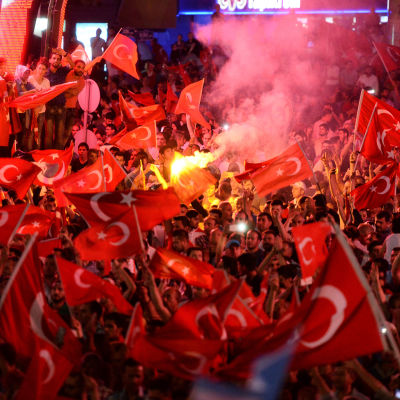 Demonstration i Ankara efter kuppförsöket i Turkiet