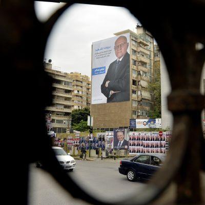 Affischer på kandidater till parlamentet 2018 i Beirut, Libanon.
