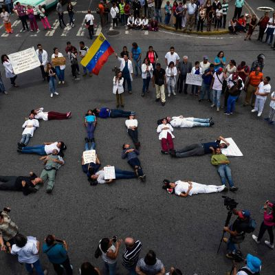 Protest mot förhållandena i Venezuela 2.8.2018.