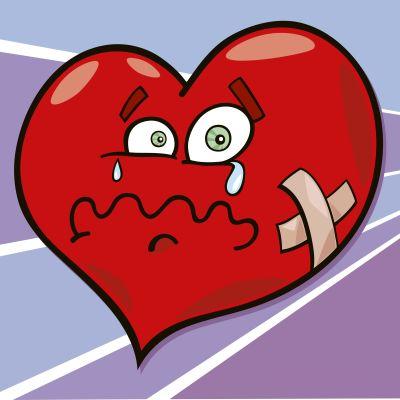 en ritad bild på ett hjärta som gråter och har plåster på.