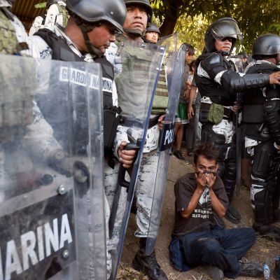 Det mexikanska nationalgardet stoppar migranter i Ciudad Hidalgo  i Chiapas, Mexiko 23.1.2020