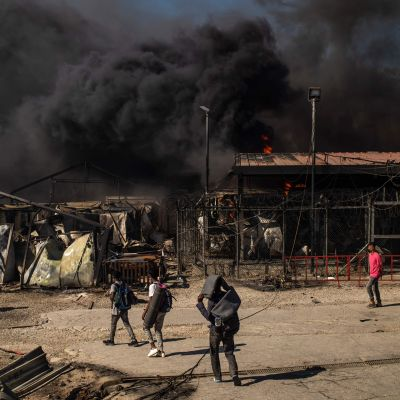 Brand i flyktinglägret Moria på Lesbos, Grekland 9.9.2020