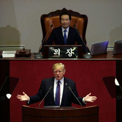 USA:s president talade till nationalförsamlingen i Seoul 8.11.2017.